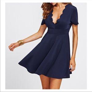 Navy Blue V Neck Scallops Fit & Flare Dress
